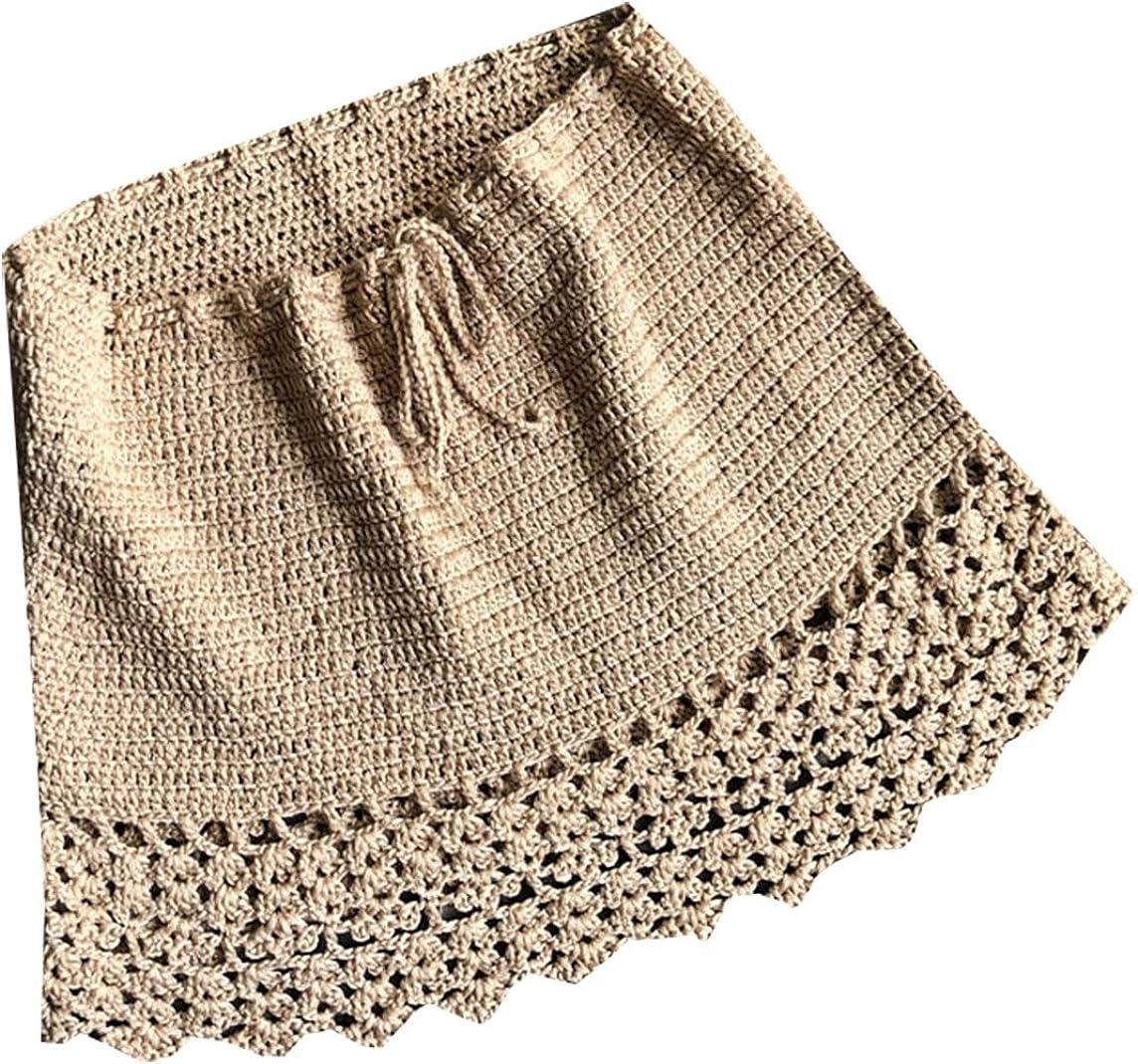 BingSai traje de baño corto con falda de crochet para mujer ...