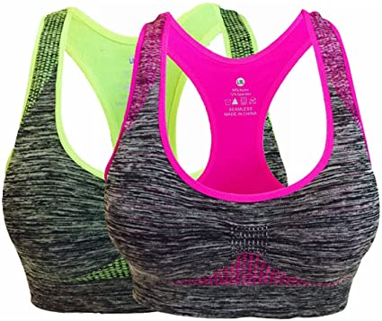 92993f212c Vermilion Bird Women s Seamless Sports Bra High Impact Pocket Yoga Bras M 2  Pack