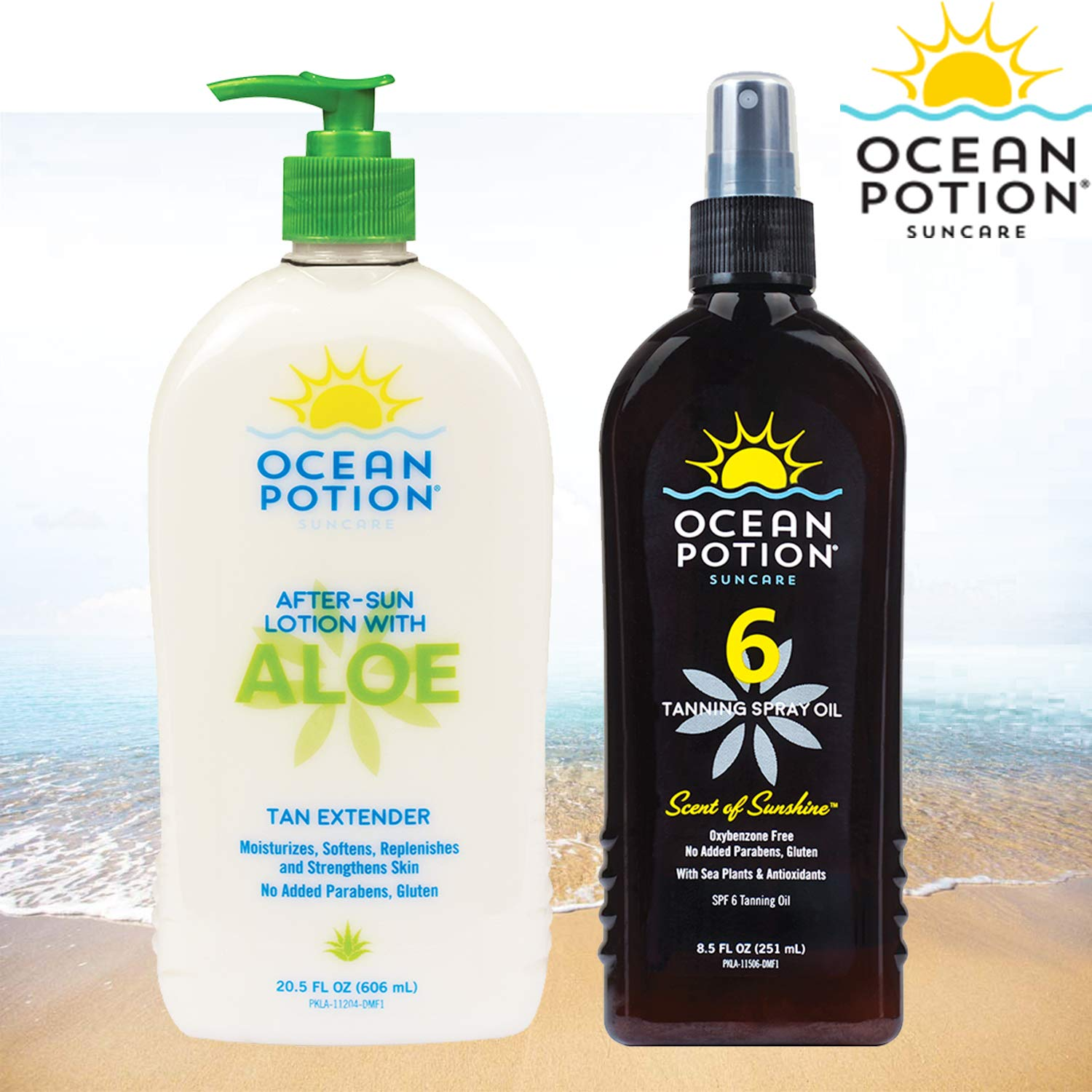 OP 2 Pack Combo, Aloe After Sun Lotion in a 20.5 OZ Push Pump Bottle, with an 8.5 OZ Tanning Spray Oil SPF 6 by Online 24/7 LLC