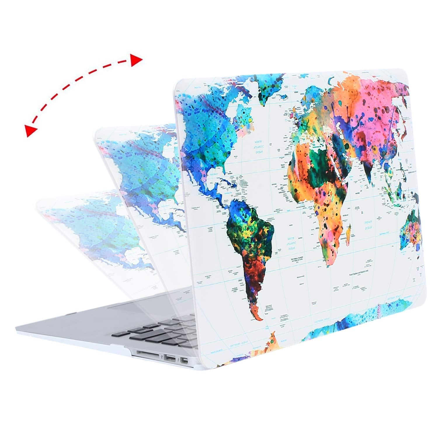 MOSISO MacBook Air 13 Case (A1369 & A1466, Older Version 2010-2017 Release), Plastic Pattern Hard Case & Keyboard Cover & Screen Protector Only Compatible MacBook Air 13 Inch, World Map by MOSISO (Image #4)