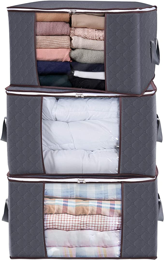 Lifewit Large Capacity Storage Bag Organizer with Reinforced Handle. Thick Fabric for Comforters, Blankets, Bedding, Foldable with Sturdy Zipper, Clear Window, 3 Pack, 90L, Grey