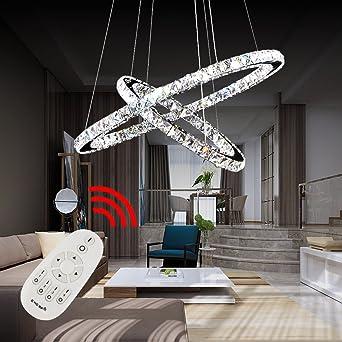 Hengda® Hängelampe Pendelleuchten Mit 2 LED Ring Kronleuchter Kristall  Dimmbar Hängeleuchte | 50W Dimmbar Lichtfarben