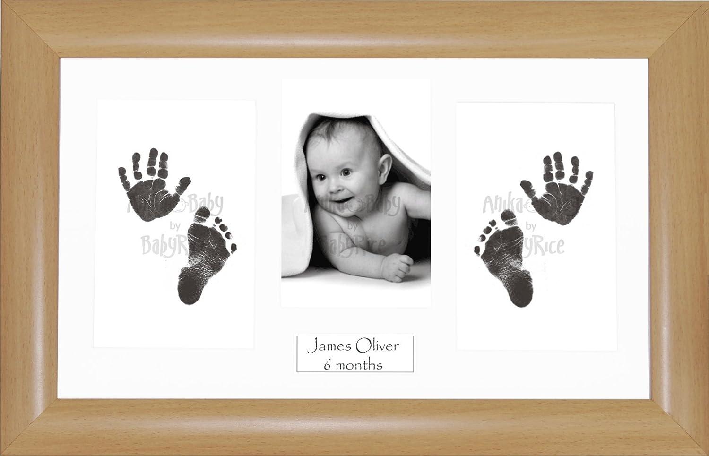 Anika-Baby BabyRice Bilderrahmen - Massivholz - mit Tinte für Hand- und Fußabdrücke - Passepartout - Buchenoptik - mit
