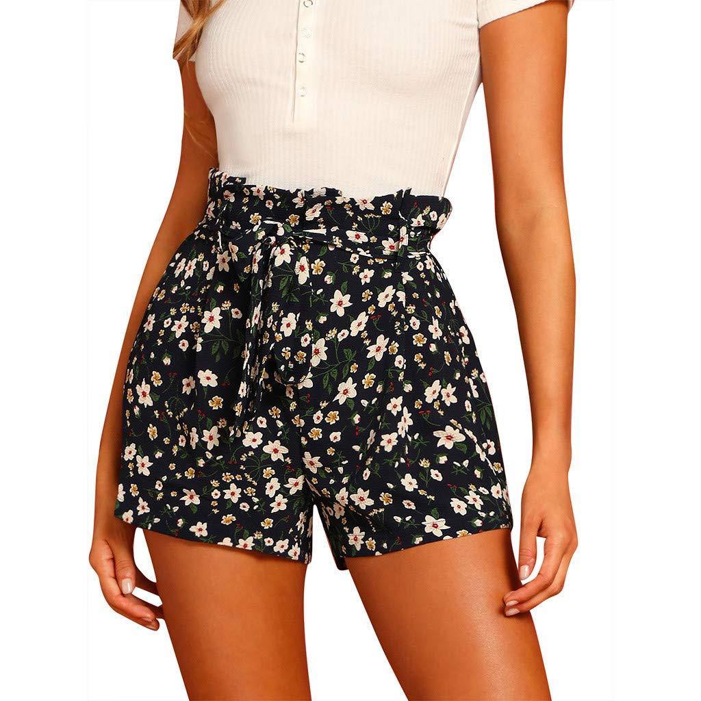 ℱLOVESOOℱ Fashion Women's High Waist Short Pants, Comfortable Elastic Band Hot Pants Floral Print Trouser Casual Summer Pants Black
