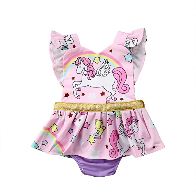 c951a58384e9 Cute Toddler Baby Girls Unicorn Bodysuit Sleeveless Backless Jumpsuit Skirt Outfits  Sunsuit Clothes(12M