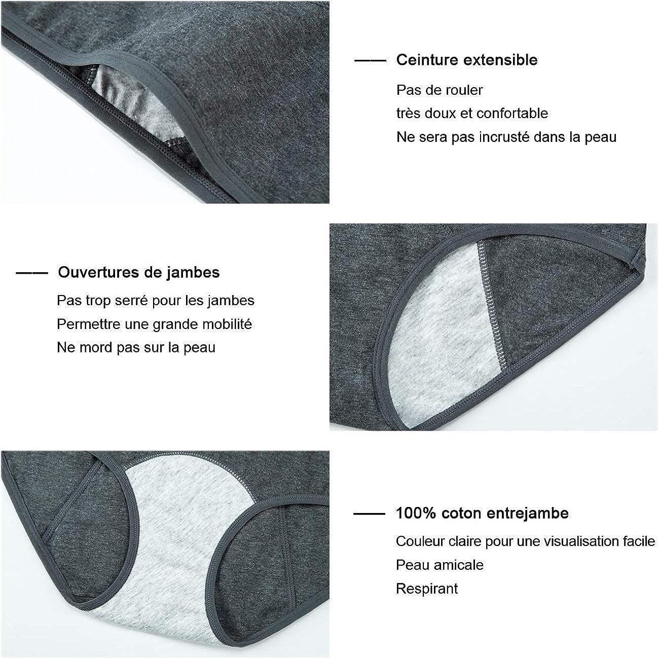 INNERSY Femme Culottes Menstruelles Absorbante Coton Anti Fuite Regles Lot de 3