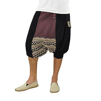 virblatt Pantalones cagados Cortos para Hombres 100% algodón con Patrones étnicos en Talla única con 2 Bolsillos Laterales, S - XL Ropa Hippie - ...