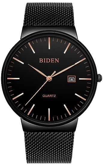 Relojes para hombre reloj de pulsera de cuarzo analógico informal en acero  inoxidable con banda de 378204c13f46