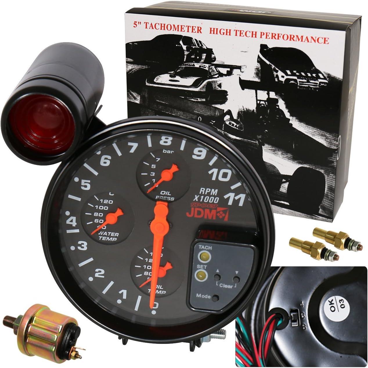 "Jdm 5/"" White 7 Color Face Tachometer 11K Rpm Tach Gauge Shift Light For Nissan"