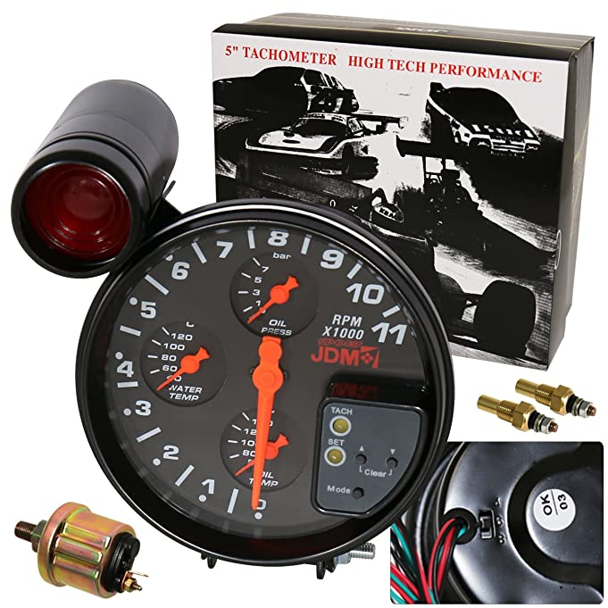 Amazon Universal 5 Black Face 4in1 JDM Tachometer 11K RPM – Jdm Integra Sport Tachometer Wiring Diagram
