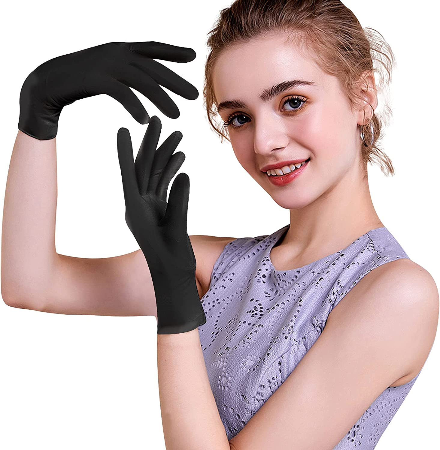 Disposable Nitrile Gloves, Food Safe Gloves Latex-Free & Powder-Free, 3Mil Textured Industrial Exam Gloves, Box of 100