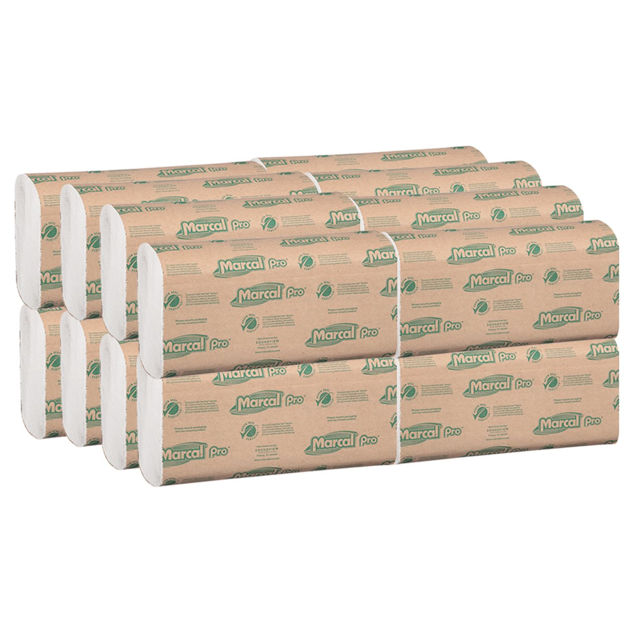 Marcal Pro M Fold Paper Towels 100% Recycled 1 Ply Natural Color Hand Towels 250 Per Pack 16 Packs per Case for 4000 Total Green Seal Certified Towels P200B