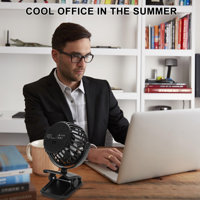ESEOE Clip on Fan, USB Or 2600mAh Rechargeable Battery Operated Fan Small Desk Fan with 4 Speeds, 360 Degree Rotation Portable Stroller Fan for Baby S (Black) by ESEOE (Image #7)