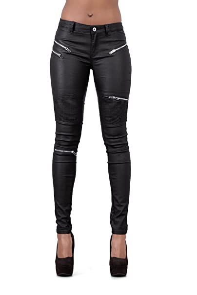 394d5236d303 LustyChic Womens Black Leather Look Jeans with Zips Ladies Sexy Slim  Fitting Trousers-UK 8