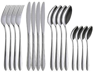 COM-FOUR® 16 piezas - Juego de cubiertos de con cuchillos, tenedores, cucharas de sopa y cucharaditas para 4 personas. (Set07-16 piezas)