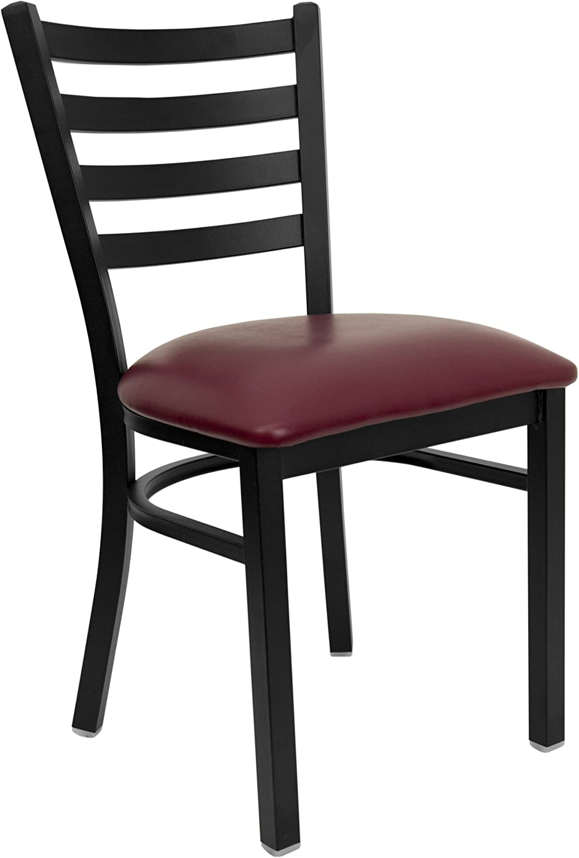 Flash Furniture HERCULES Series Black Ladder Back Metal Restaurant Chair - Burgundy Vinyl Seat