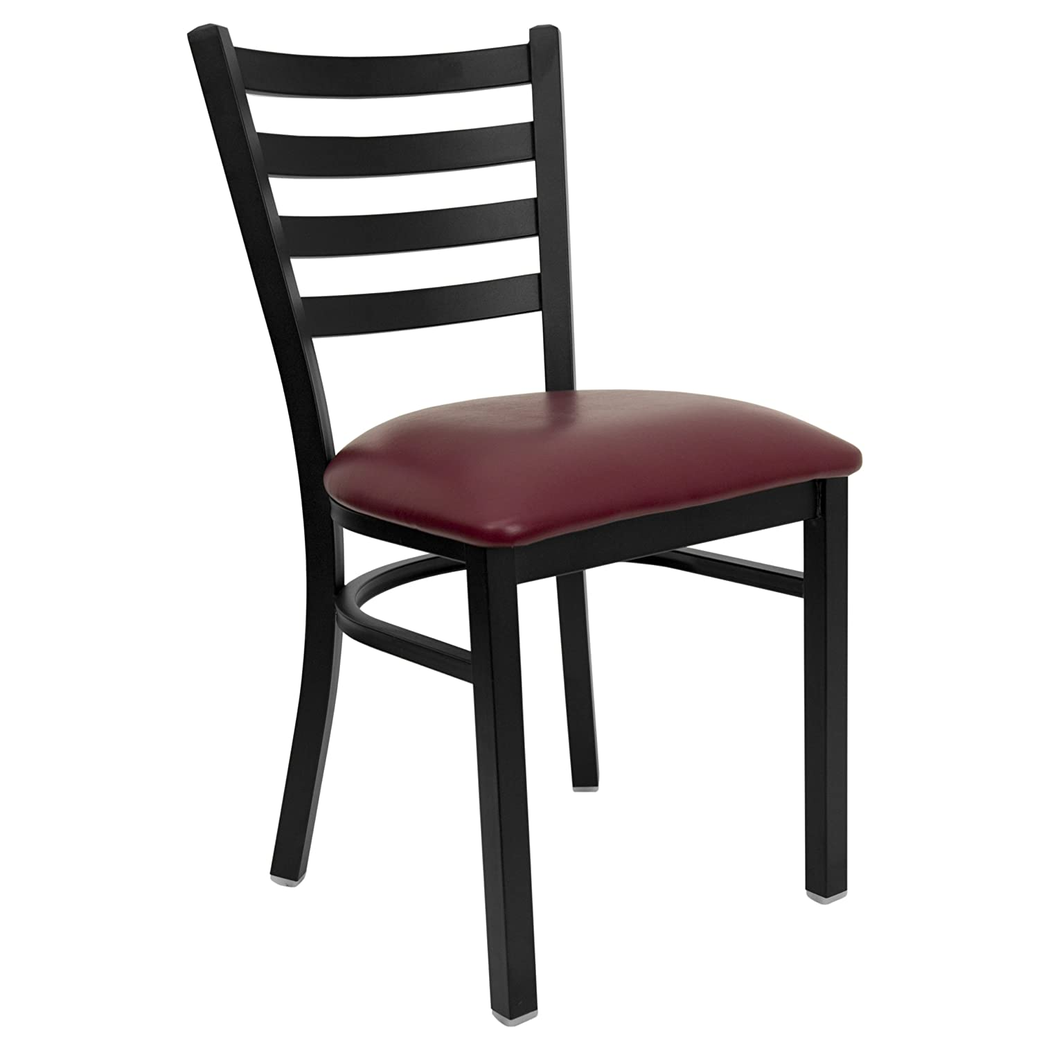Flash Furniture XU-DG694BLAD-BURV-GG HERCULES Series Black Ladder Back Metal Restaurant Chair - Burgundy Vinyl Seat