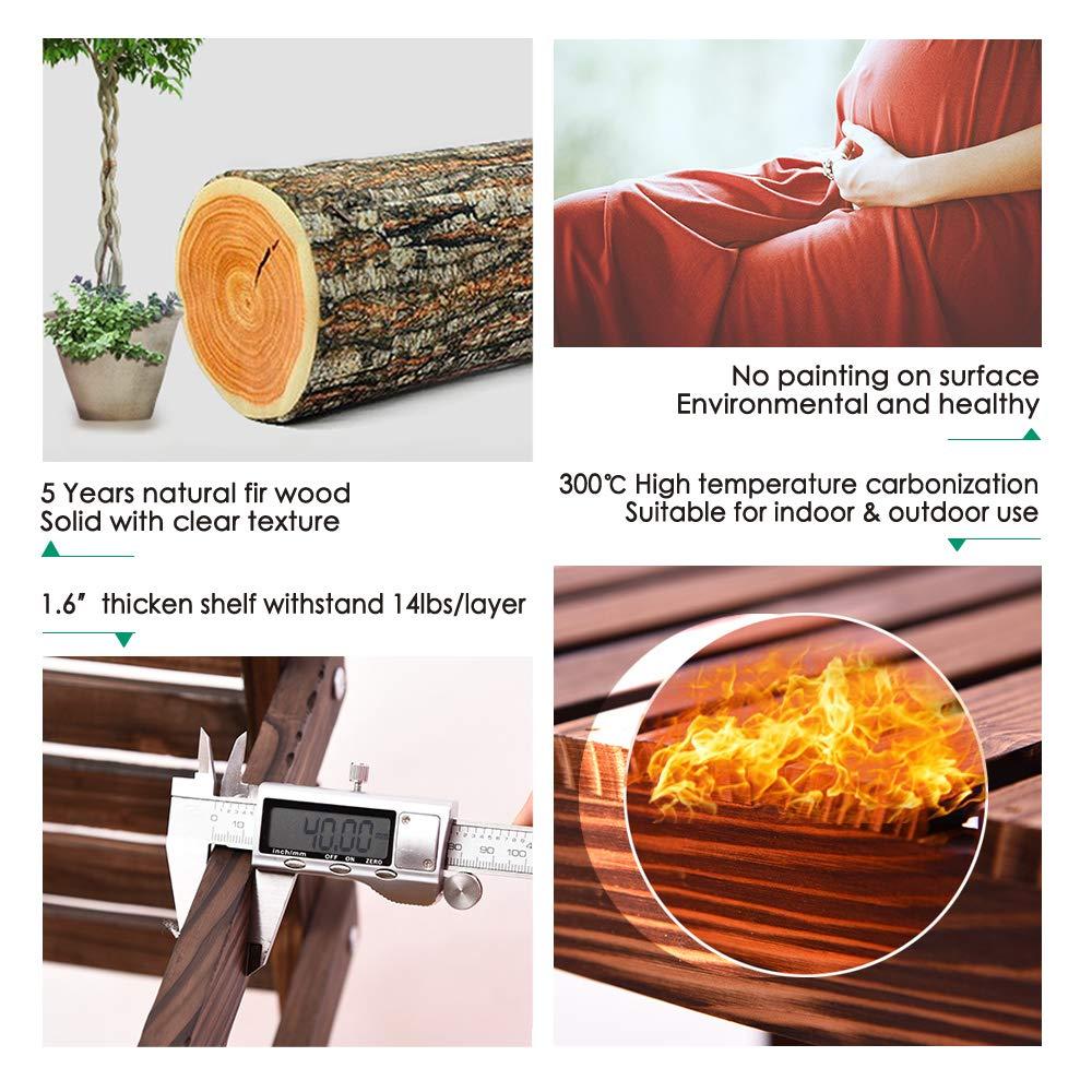 Ufine Bamboo Wood Plant Stand Outdoor Indoor 3 Tier Vertical