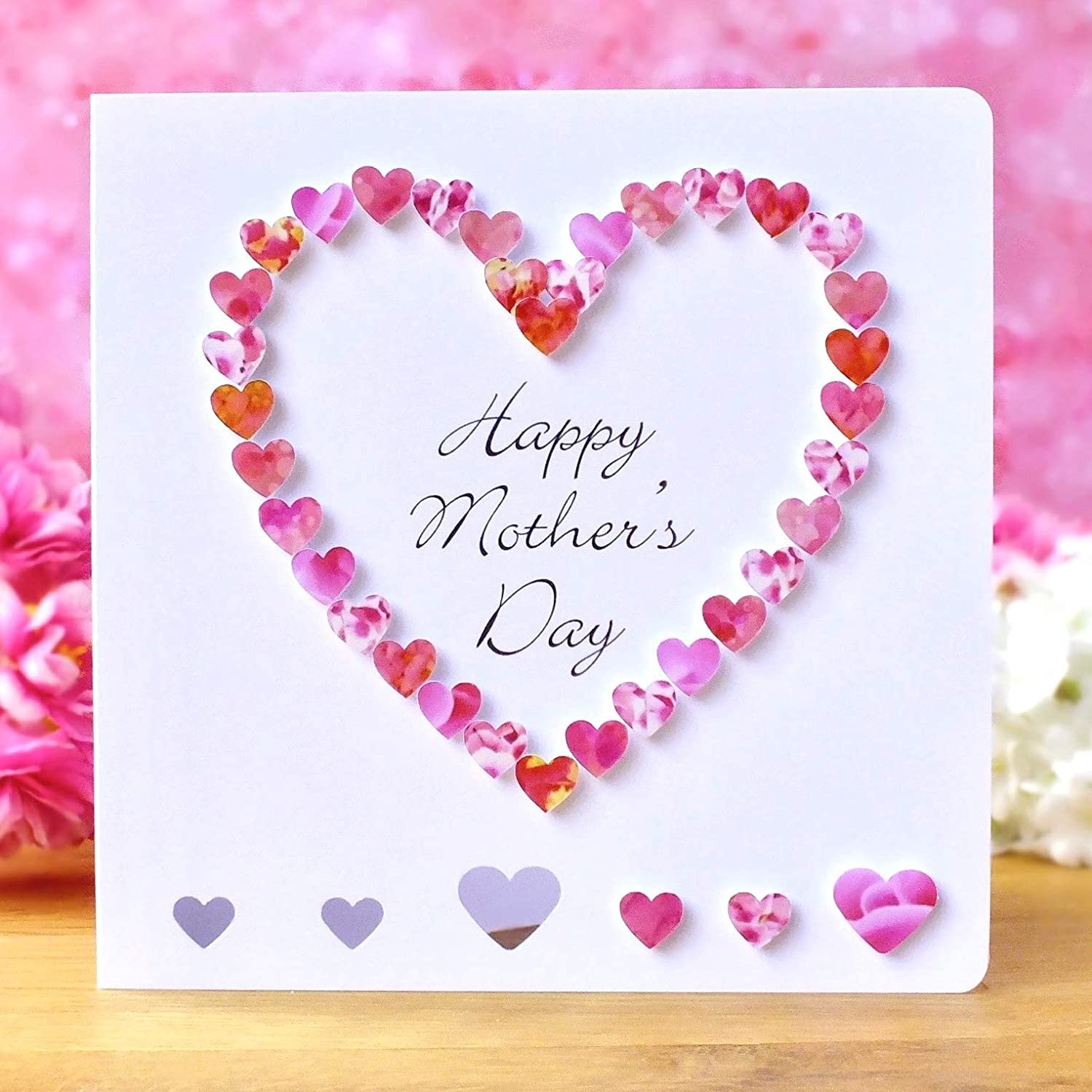 Handmade Happy Mother S Day Card Pink 3d Hand Made Love Heart Amazon Co Uk Handmade