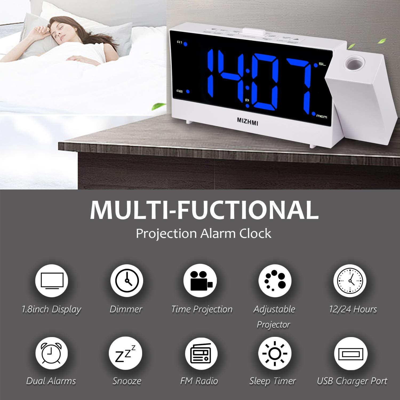 MIZHMI Despertador Digital Proyector FM Radio Reloj Despertadores ...