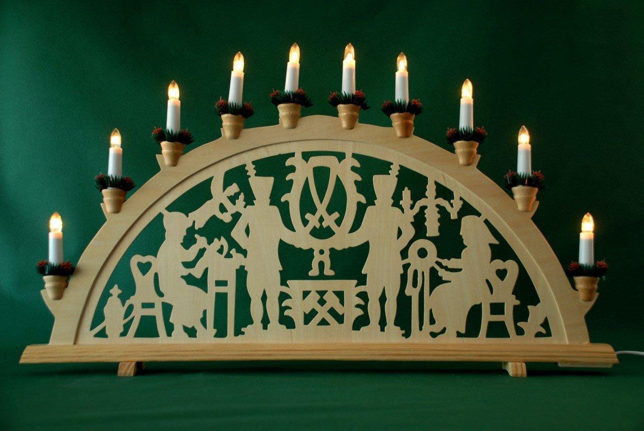 yanka-style XL Schwibbogen Lichterbogen Leuchter Bergleute traditionelles Motiv 70 cm lang 10flammig Weihnachten Advent Geschenk Dekoration 10742