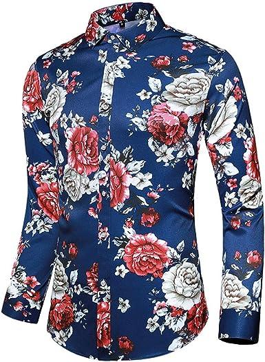 waotier Camisetas de Manga Larga Camisa Hawaiana Hombre ...