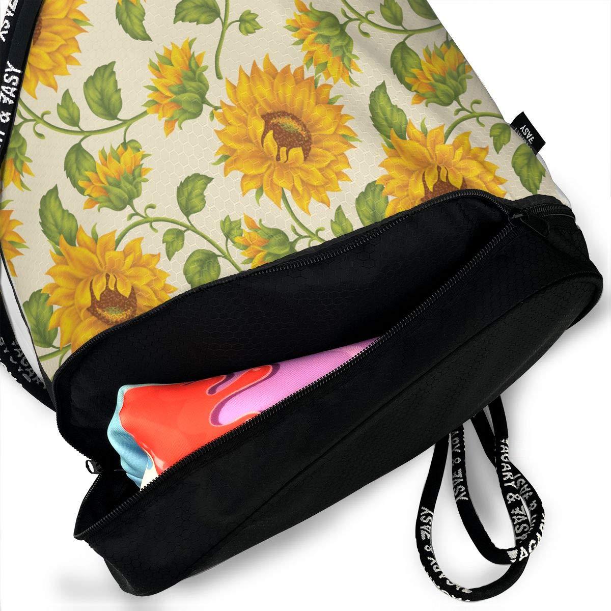 Sunflower Print Cinch Backpack Sackpack Tote Sack Zol1Q Lightweight Waterproof Large Storage Drawstring Bag for Men /& Women