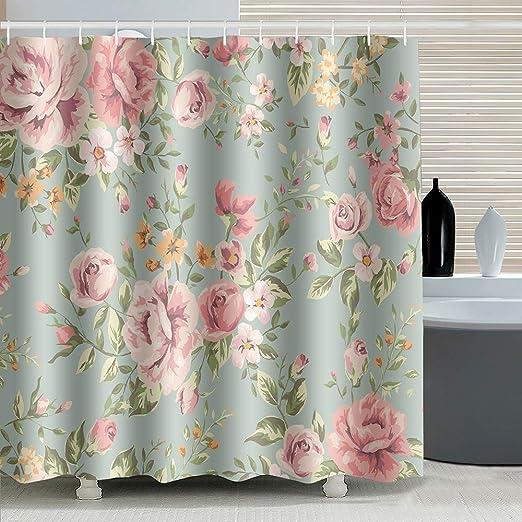 ufengke Rideau de Douche Fleurs Rose Rose avec 12 Crochets ...