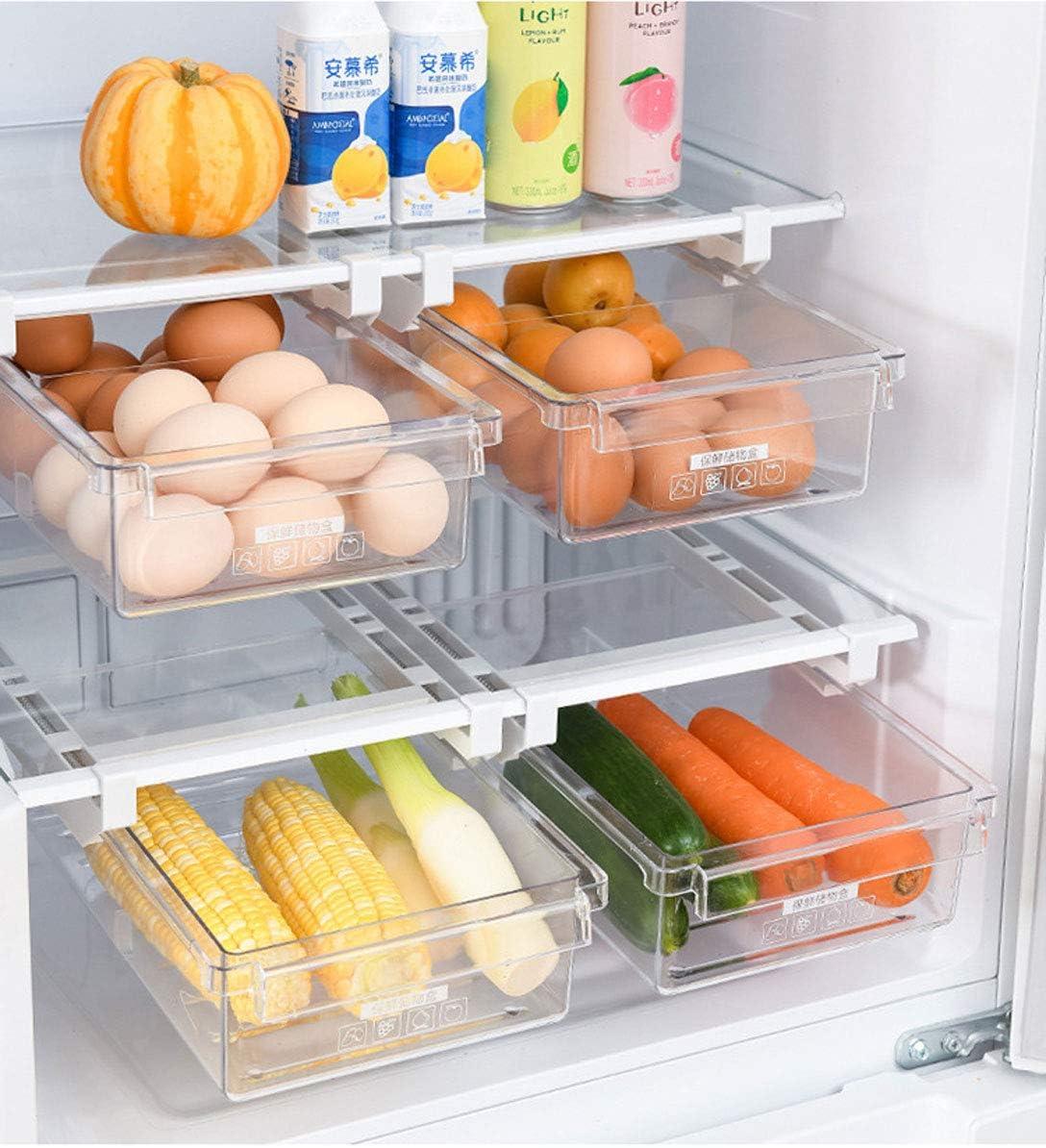 Caja de almacenamiento para nevera organizador para verduras y frutas y huevos soporte para el hogar cajones de dise/ño /único con caj/ón extra/íble para nevera LABABE Refrigerador Caj/ón Organizador