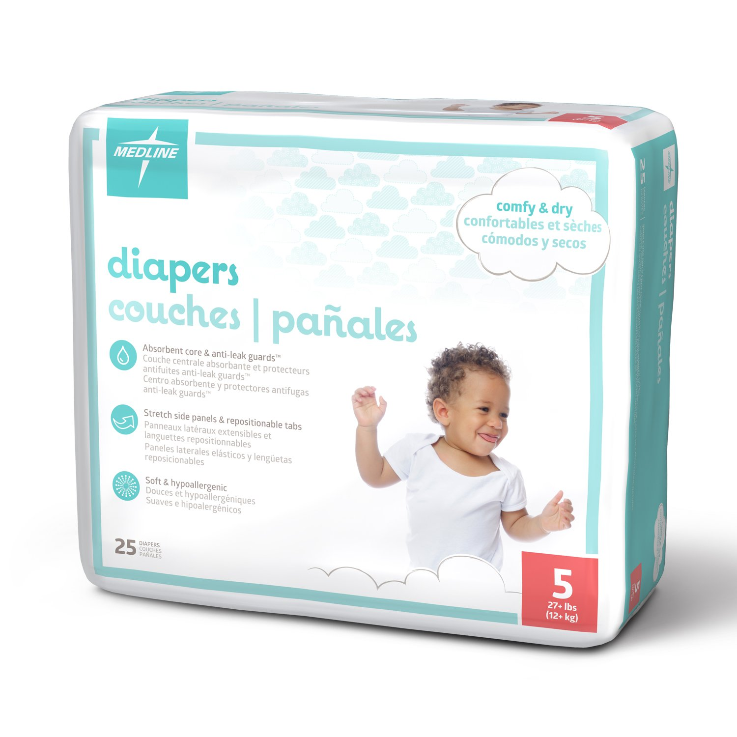 Amazon.com: Medline MBD2001Z Baby Diapers, Size 1, 8–14 lb. (Pack of 25): Industrial & Scientific