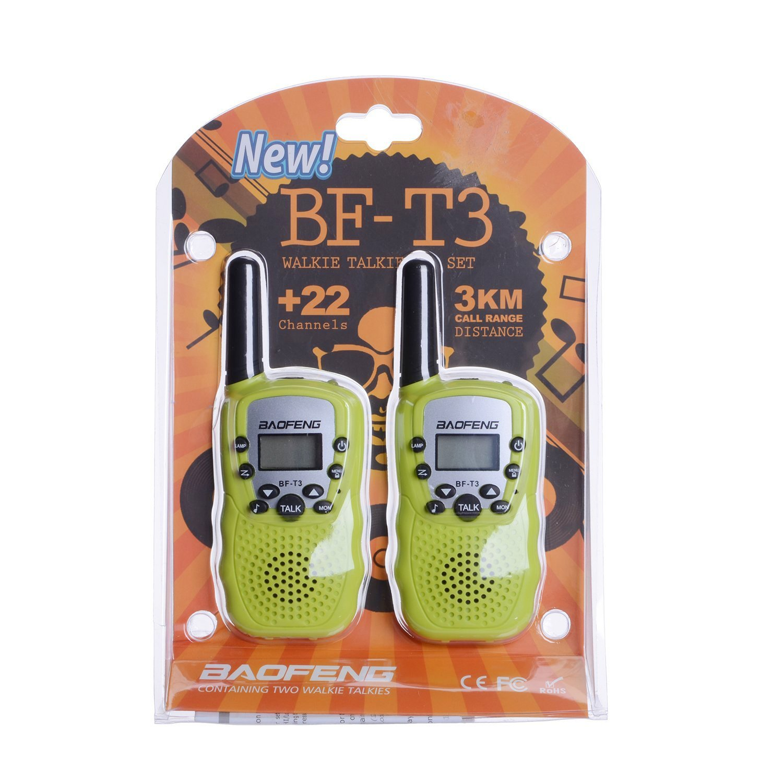 1 Pair Black Walkie Talkies for Kids BF-T3 Children Outdoor Toys 22 Channels 3 Miles Range