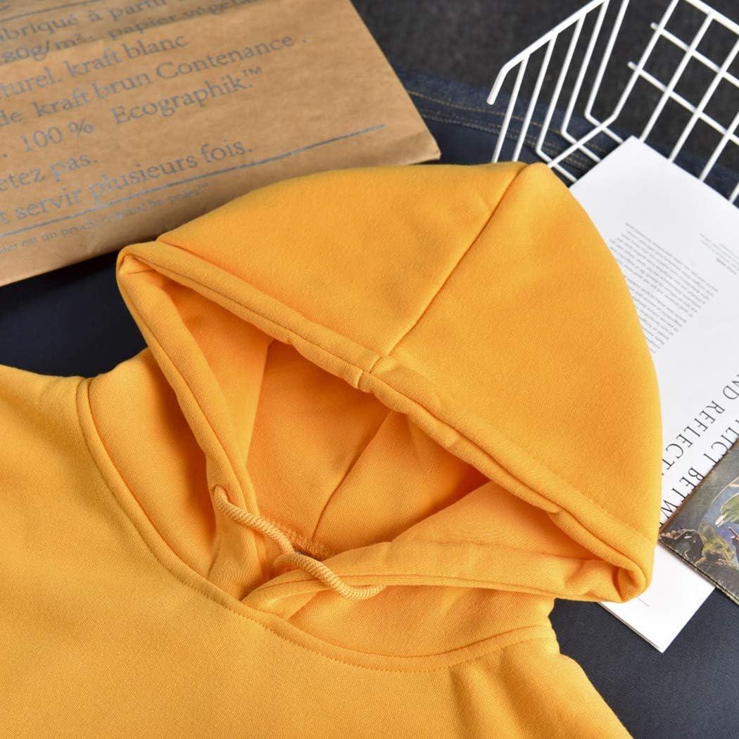 Frauen Kapuzenpulli mit rundem Hals und Fleecepullover einfarbiger Buchstabe Print Fashion Top Yellow