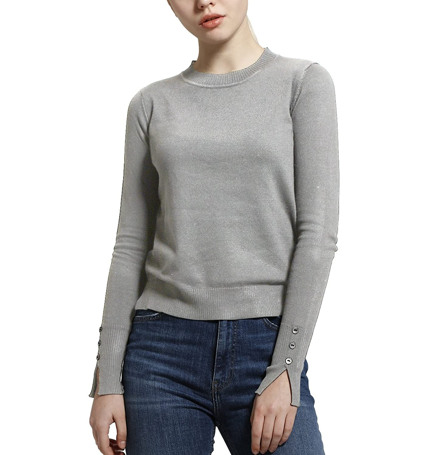 PRETTIGO Long Sleeve Crew Neck Knitted Fashion Comfortable Pullover Sweater