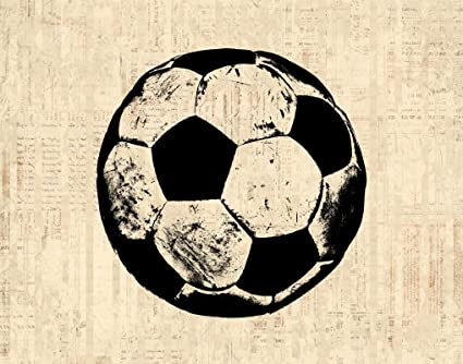 amazon com soccer print vintage soccer ball artwork wall art