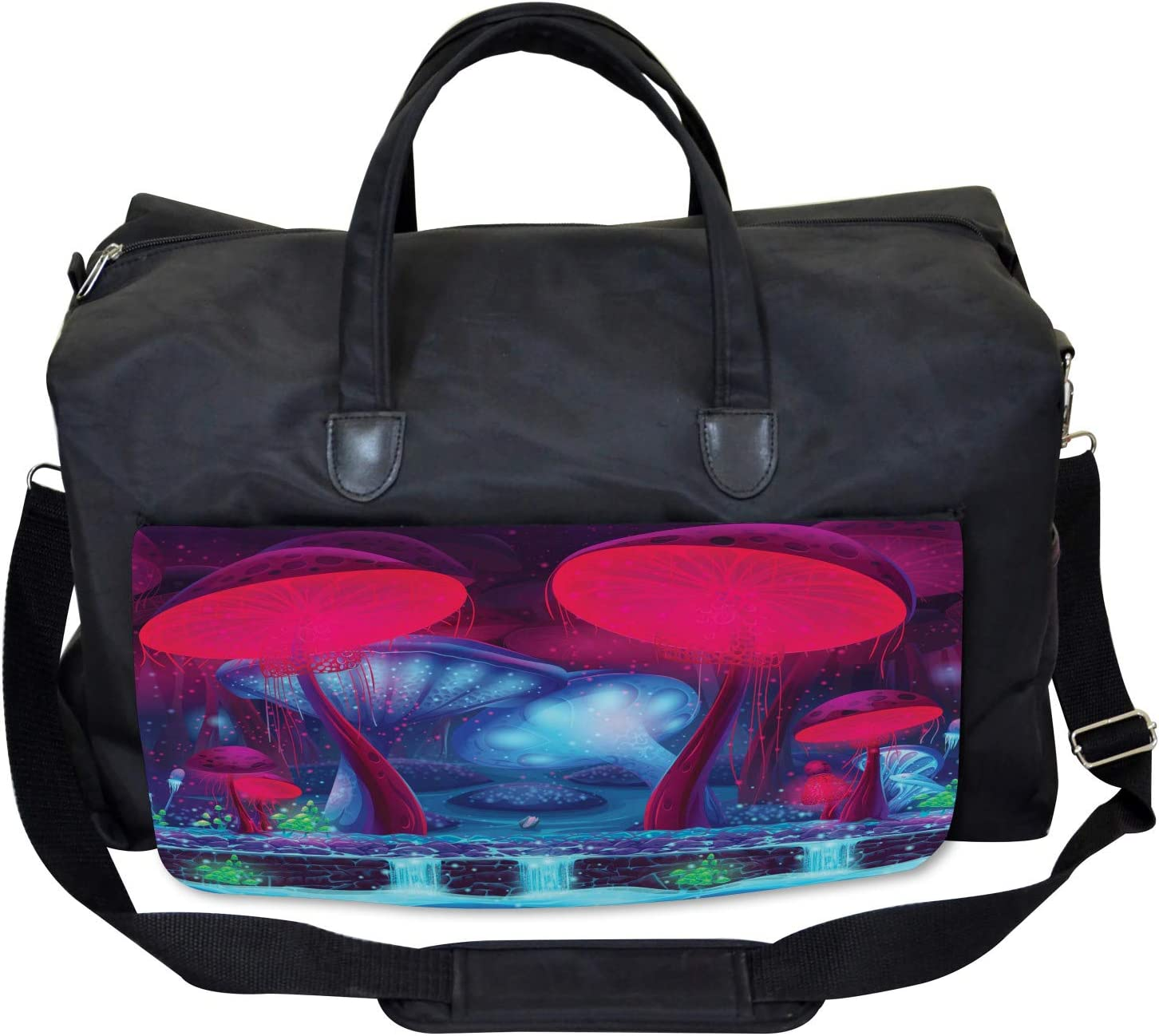 Large Weekender Carry-on Mushrooms Vibrant Colors Ambesonne Forest Gym Bag