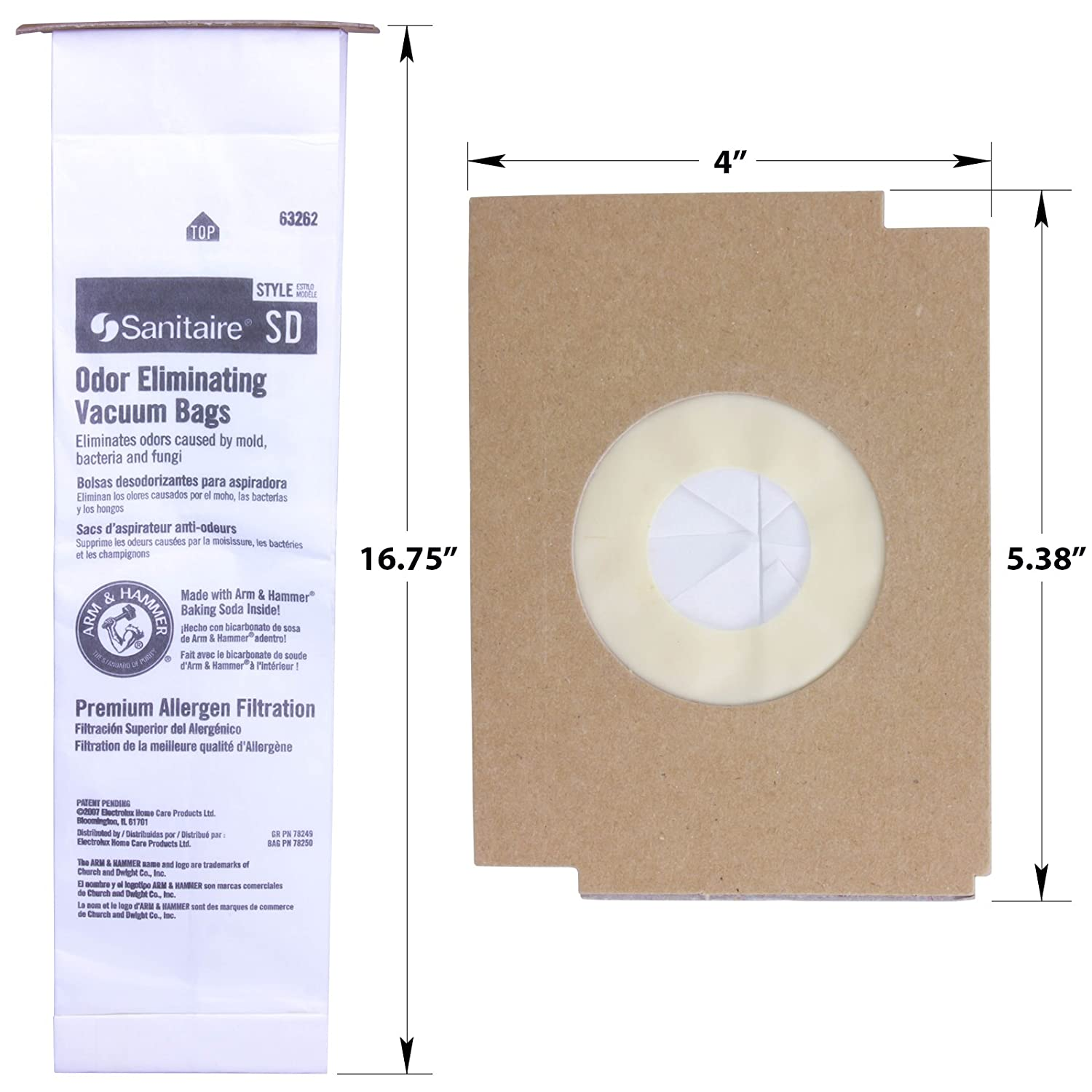 Sanitaire SD Odor Eliminating Vacuum Bags - 10 Bags. Professional Quality Filters with Arm & Hammer Baking Soda for Allergen and Odor Filtration. ...