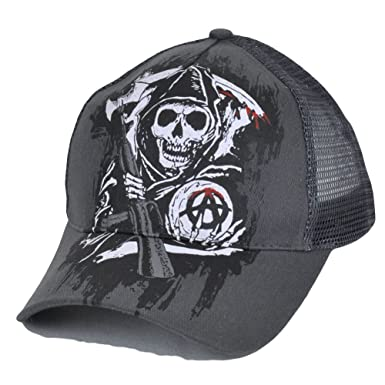3521591c24b Sons of Anarchy Snapback Mesh Print TV Show Fear the Reaper Skulls Grey Hat  Cap