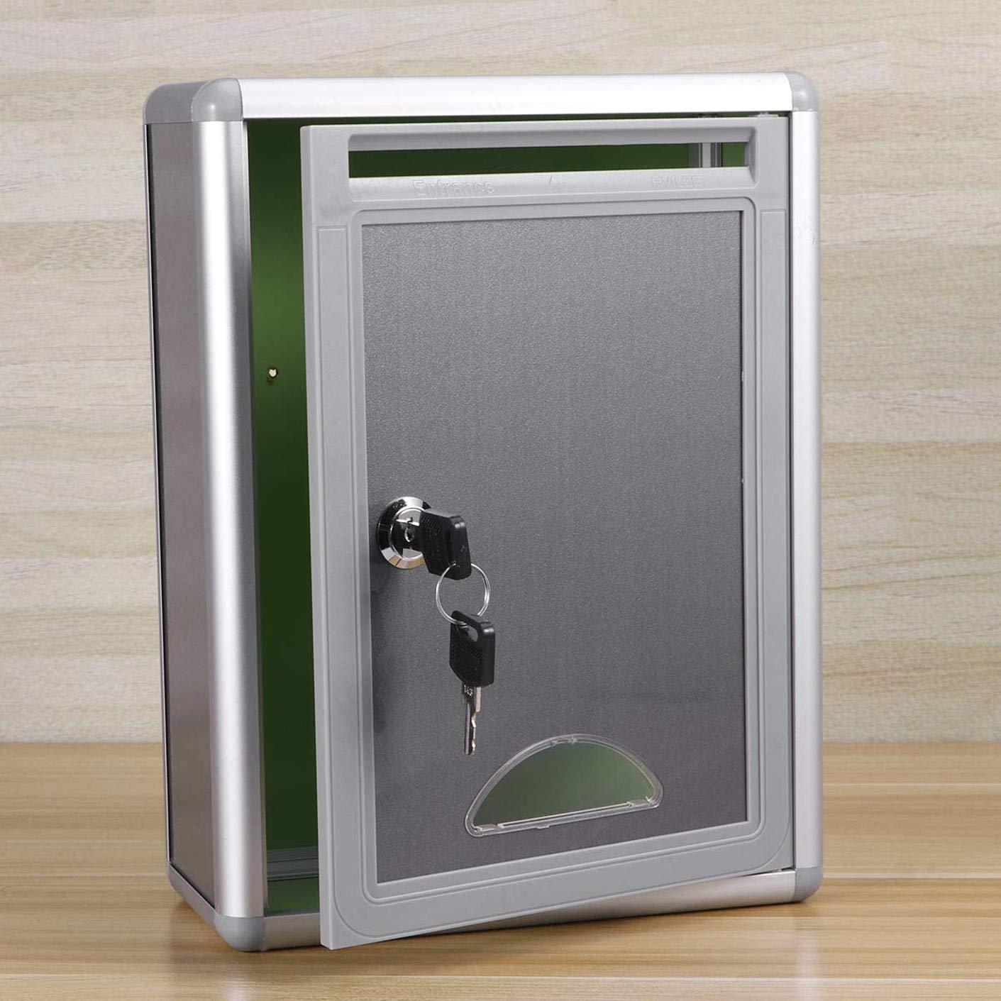 ALONGB Buz/ón de sugerencias Buz/ón de aleaci/ón de Aluminio con Cerradura Colgante de Pared Caja de Quejas Tama/ño peque/ño