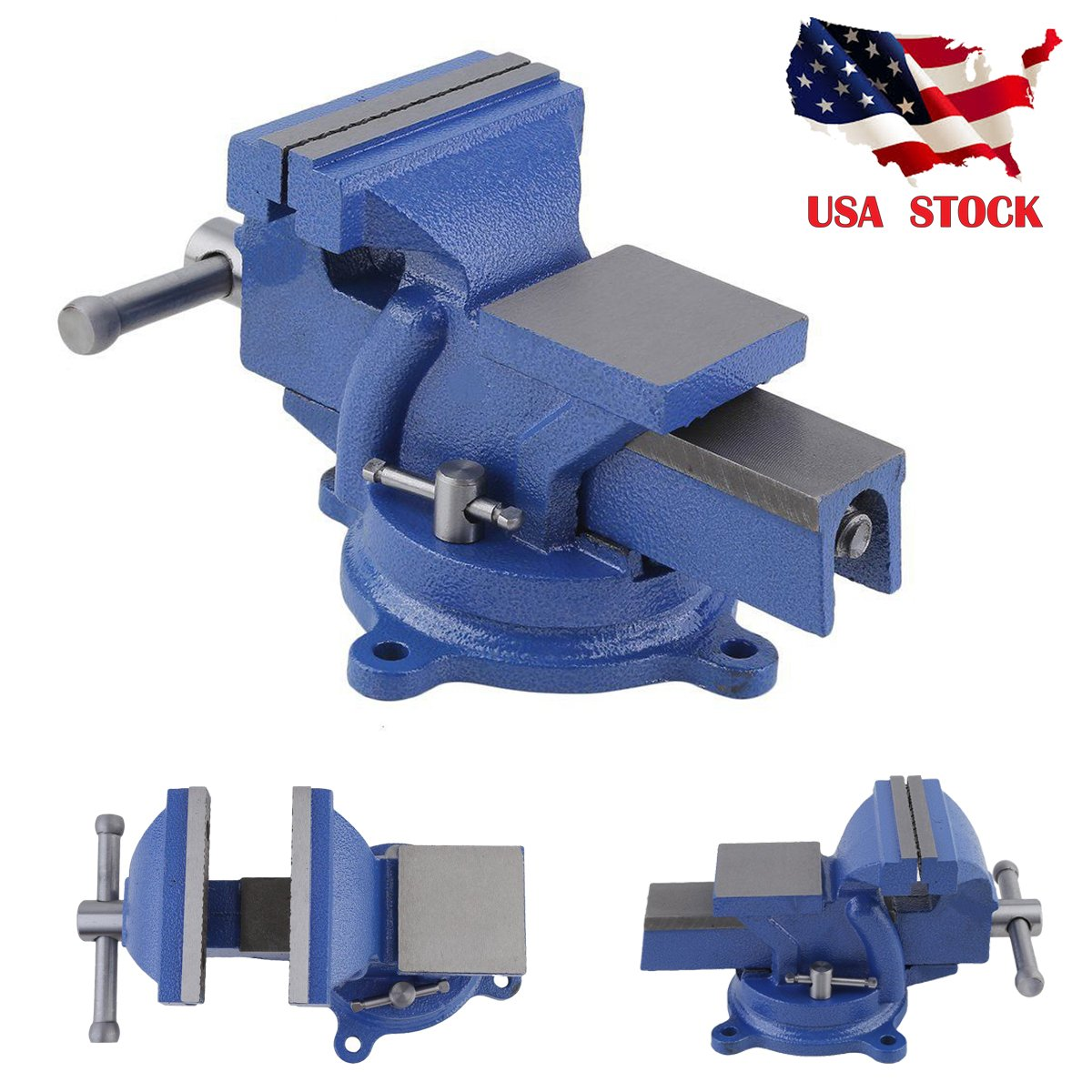 Godung Bench Vice Clamp (5'') Vise Table Work Engineer Jew Heavy Duty Craft Repair Swivel Base