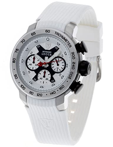 DeTomaso Lucca Dt1017 - Reloj de Caballero de Cuarzo, Correa de Silicona Color Blanco: Amazon.es: Relojes