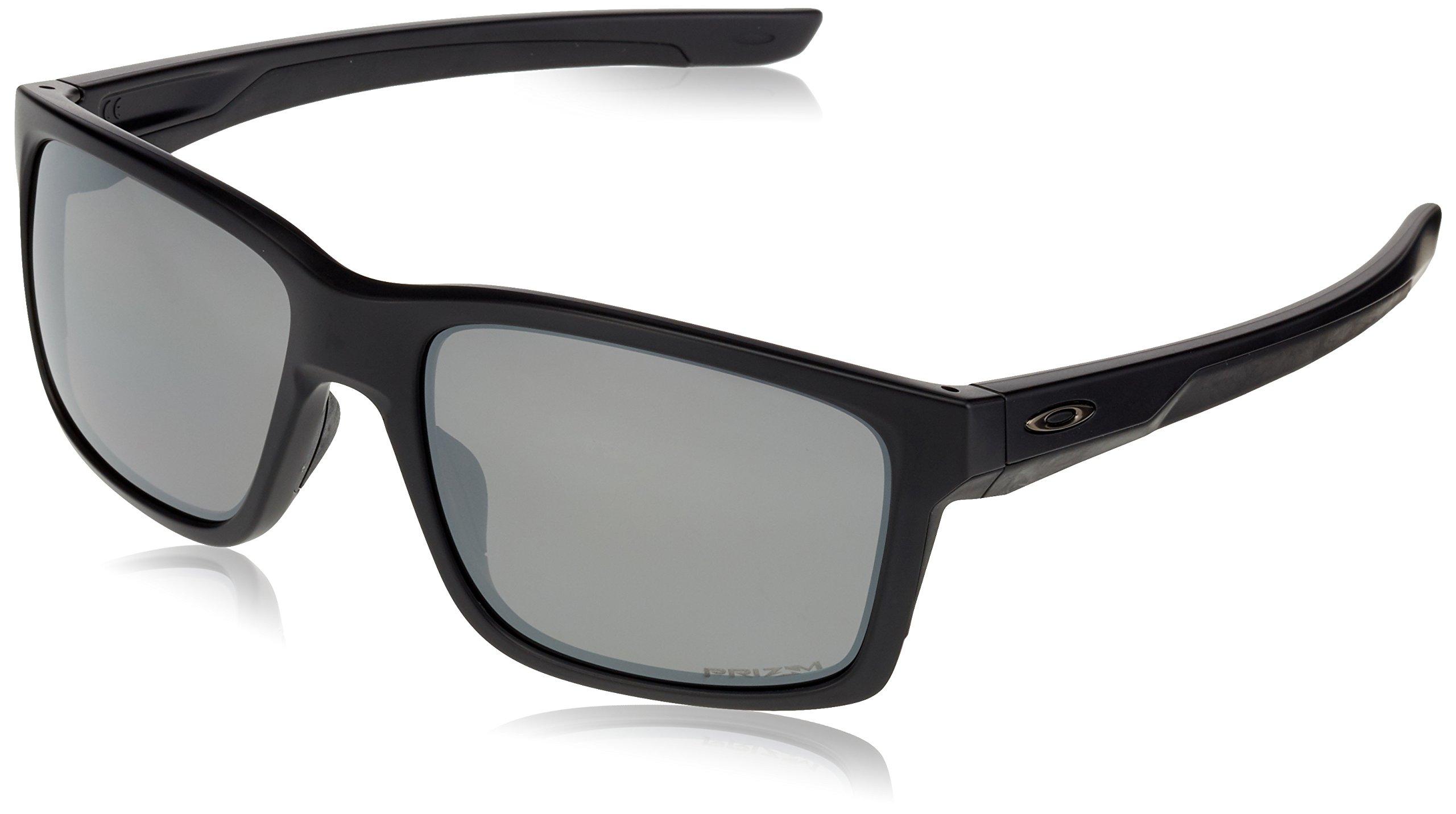 Oakley Men's Mainlink Polarized Iridium Rectangular Sunglasses, MATTE BLACK, 57.1 mm