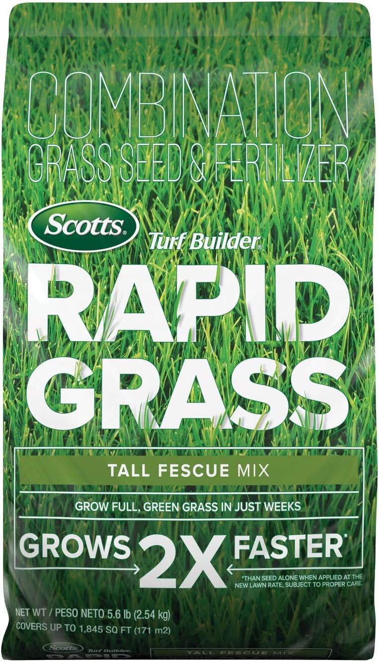 Scotts 18222 Turf Builder Rapid Grass Tall Fescue Mix: up to 1,845 sq. ft, Combination Seed & Fertilizer, Grows in Just Weeks, 5.6 lb,