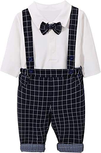 Toddler Newborn Baby Boy Clothes Gentleman Bowtie Romper+Suspenders Outfits Set