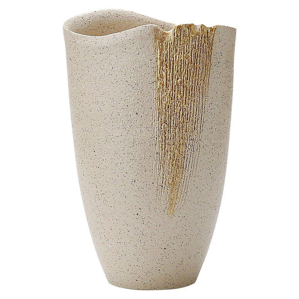 Shigaraki Pottery Japan Flower Vase Kado Ikebana, White with Gold line pattern