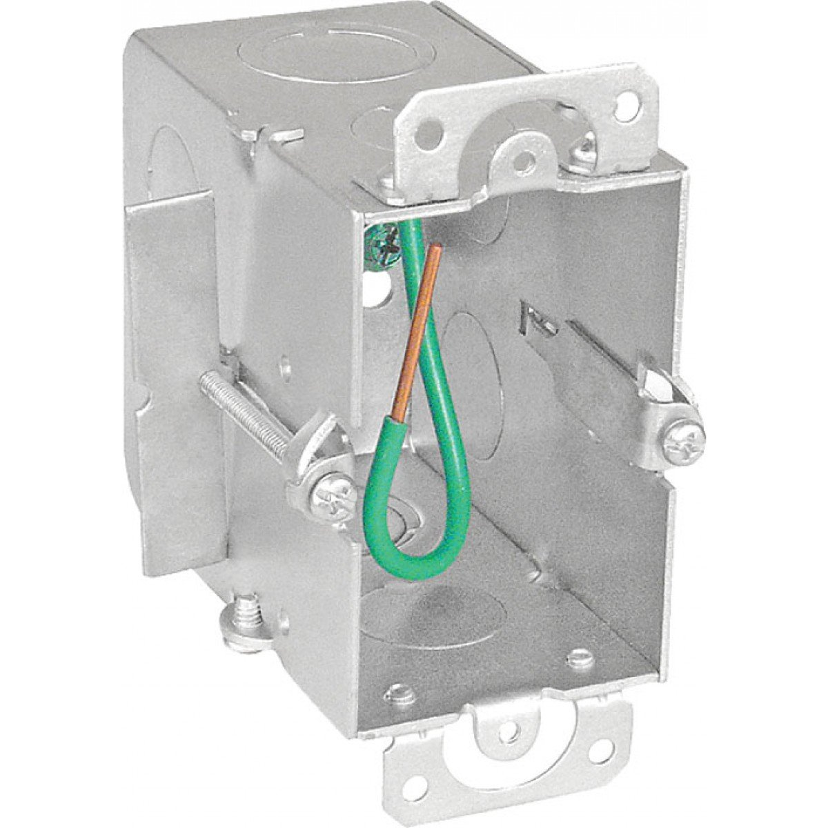 2 Pcs, 3-1/2 In. Deep, Switch Box w/Old-Work Clips & (6) 1/2 In. Side Knockouts; (2) 1/2 In. Bottom Knockouts, Zinc Plated Steel