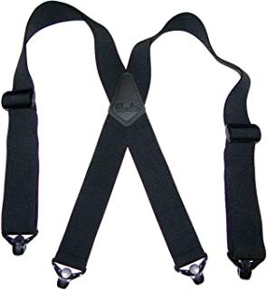 """product image for Holdup brand 2"""" wide XL Airport Friendly Black X-back Suspenders Jumbo black Patented Gripper Clasps"""