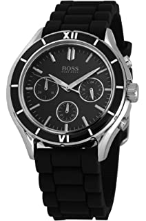 Hugo Boss Chronograph Black Dial Black Silicone Unisex Watch 1502224