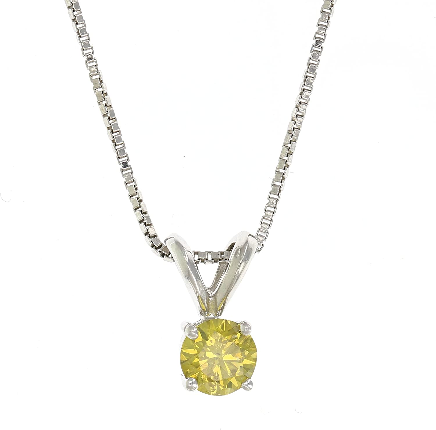 Vir Jewels 1//4 cttw Yellow Diamond Solitaire Pendant Necklace 14K White Gold