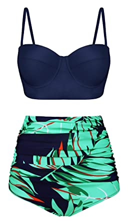 9ce6c3cb651 Amazon.com: Swiland Women Vintage Swimsuits High Waisted Bikinis Bathing  Suits Retro Halter Underwired Top: Clothing