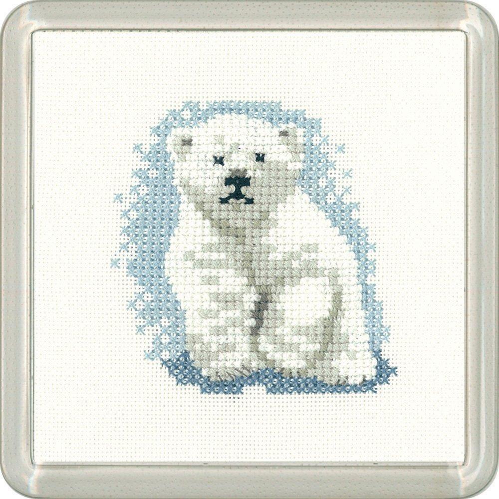 Heritage Crafts - Posavasos de punto de cruz, diseño de oso polar ...